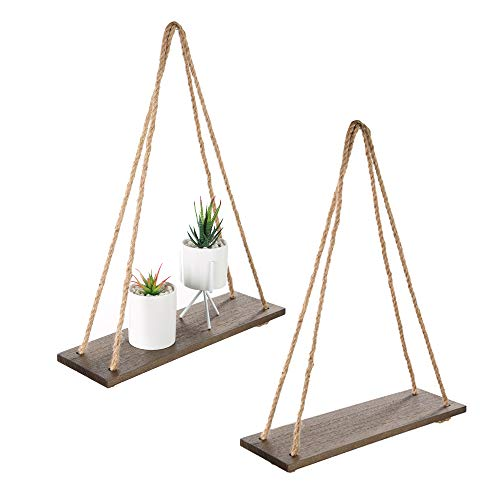 Wood Rope Hanging Floating Shelves, Rustic Wall Decor Swing Shelf with 4 Hooks,Pack of 2 ,Brown