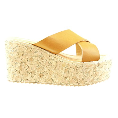 Angkorly - Chaussure Mode Mule Sandale plateforme femme liège lanière Talon compensé plateforme 9.5 CM - Camel