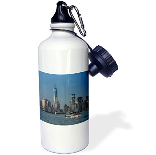 3dRose wb_154694_1 ''Boat and Freedom Tower'' Sports Water Bottle, 21 oz, White by 3dRose