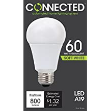 TCP CAS11LC LED Connected A19 - 60 Watt Equivalent (11W) Soft White (2700K) WiFi Enabled Wireless Smart Standard Light Bulb