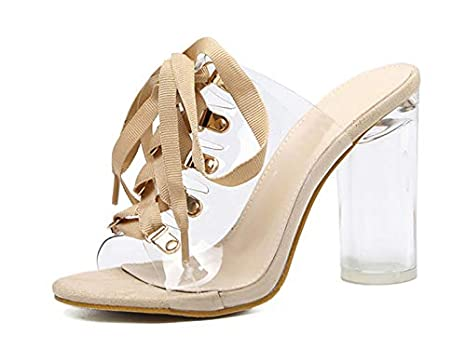 227fe28a1 Image Unavailable. Image not available for. Color  DingXiong 2018 PVC  Transparent Gladiator Sandals Peep Toe Lace-Up ...