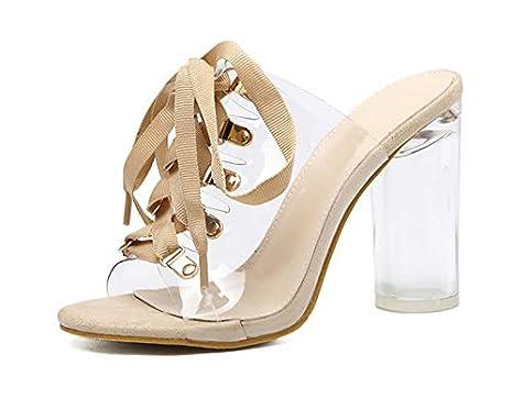cb6f50d67078 Amazon.com  DingXiong 2018 PVC Transparent Gladiator Sandals Peep ...