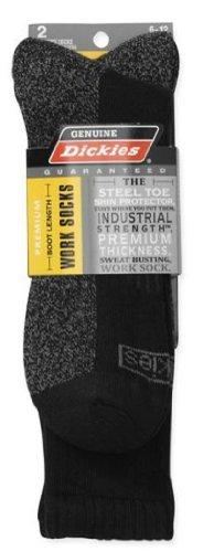 Dickies Genuine Men's 2-Pair Boot Length Work Socks - Black With Grey 6-12