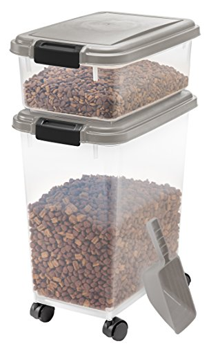 IRIS Airtight Pet Food Container Combo Kit ChromeBlack