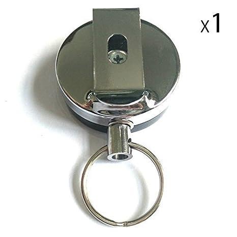 MMY Badges r/étractable r/ésistant en acier Reel+chrom/é ID de Badge-neuf-1 pack