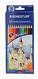 Staedtler Colored Pencils, 12 Colors (Free Sharpener)