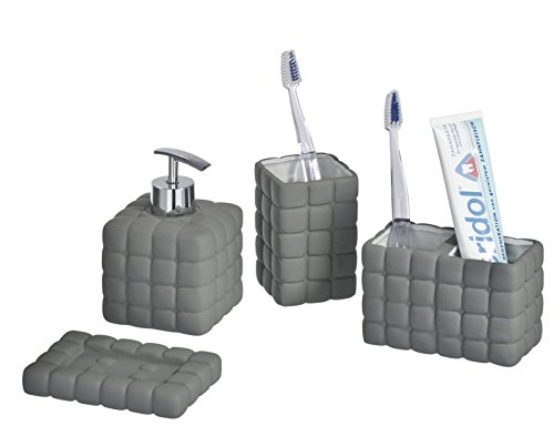 4tlg Wenko Bad Set Cube Dark Grey Aus Keramik Amazon De Kuche