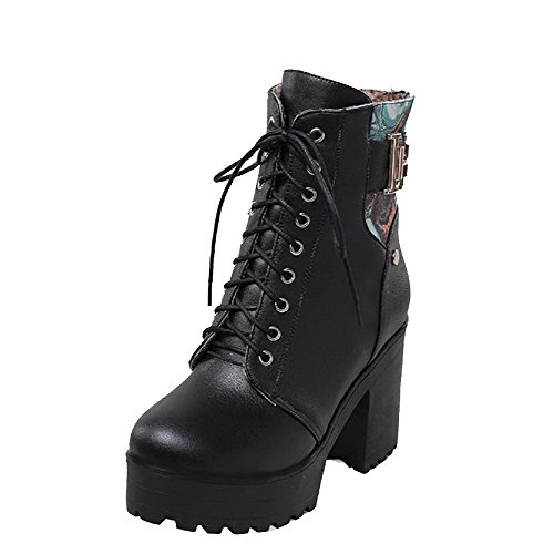 Womens Material Toe Color top Round High Assorted Boots Black Soft Low Closed AllhqFashion Heels Bwfq0HHd