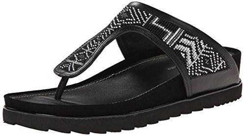 Donald J Pliner Dames Cali Sleehak Sandaal Zwart / Wit Aztec Kralen