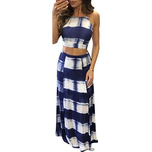 Cheap Dellytop Women's Wrap Front Floral Printed Two Pieces Crop Split Maxi Dress hot sale