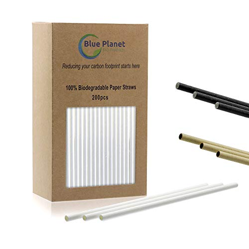 Blue Planet Paper Drinking Straws : 100% Biodegradable & Compostable, Eco Friendly, Disposable : Bulk : Restaurant Grade : White : for Smoothies, Coffee, Party, Cake Pops, Shower, Wedding