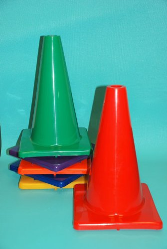 Everrich EVB-0031 12 Inch Vinyl Cone with Square Base- Pack of 6 by Everrich