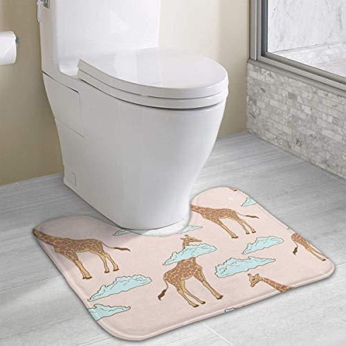 Bennett11 Cute Giraffe in Clouds U-Shaped Toilet Floor Rug Non-Slip Toilet Carpets Bath Mats Rug 19.2″x15.7″
