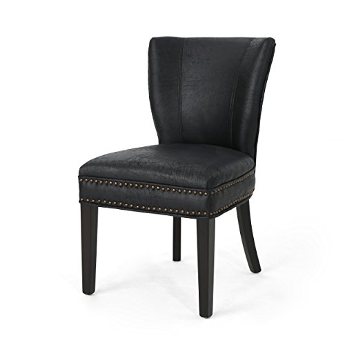Christopher Knight Home 304777 Underwood Traditional Microfiber Dining Chair, Black,