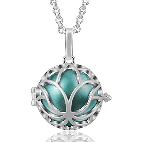 AEONSLOVE Lotus Flower Harmony Bola Chiming Bell Pendant Necklaces with 30'' Chain, Best Jewelry Gifts ()