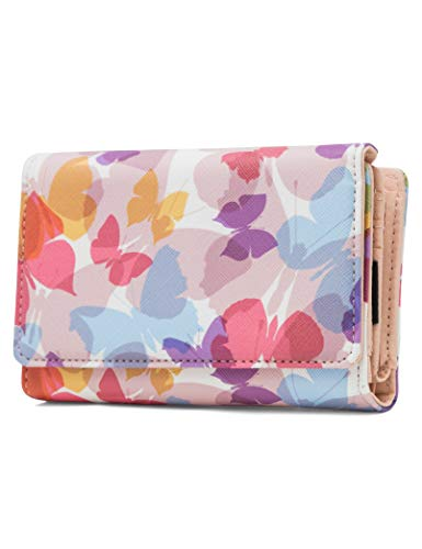 (Mundi Small Womens RFID Blocking Wallet Compact Trifold Safe Protection Clutch With Change Purse (Float Like A Butterfly) )