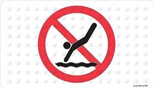 Kikkerland No Diving Natural Rubber High Grip Suction Cup Bath Mat,