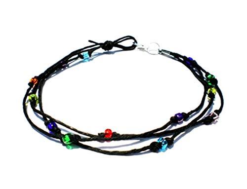 Hempnotic Jewelry Black Hemp Three String Multicolor Glass Beaded Anklet - Handmade