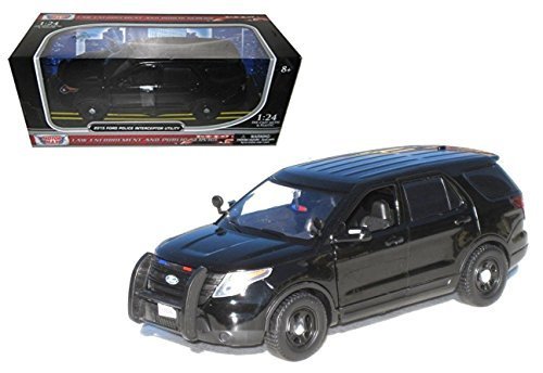 New 1:24 W/B AMERICAN CLASSICS COLLECTION - PLAIN BLACK 2015 FORD POLICE INTERCEPTOR UTILITY Diecast Model Car By MOTOR MAX