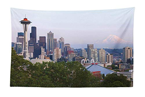 (FORHAPPY Seattle Tapestry, Downtown City Photograph with Mount Rainer at The Sunset Touristic Attractions, Fabric Wall Hanging Decor for Bedroom Living Room Dorm, 60 W X 50 L inches, Multicolor)