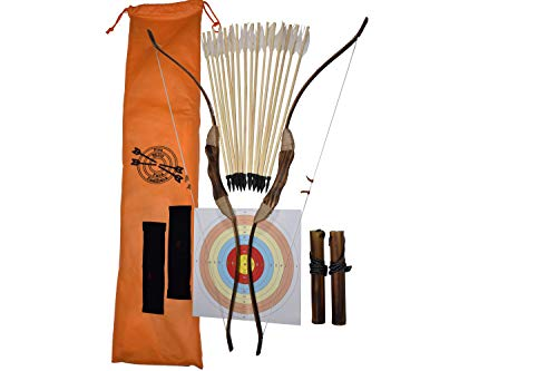 FSFF Enhanced Wooden Bow and Arrow for Kids 2-Bows 2-Four Arrow quivers 16-Arrows w/ Feathers 10-Large Targets & 2-armguards Great Archery Set for Youth boy / Girl Beginner Archery Set ()