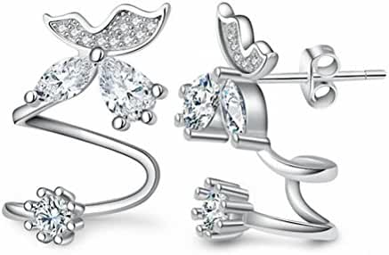 megko Bling Butterfly CZ Diamond Jewelry Piercing Ear Wraps Stud Earrings for Women's Gift
