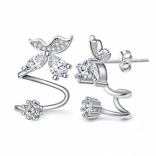 megko Bling Butterfly CZ Diamond Jewelry Piercing Ear Wraps Stud Earrings for Women's Gift (silver (Silver Butterfly Cuff)