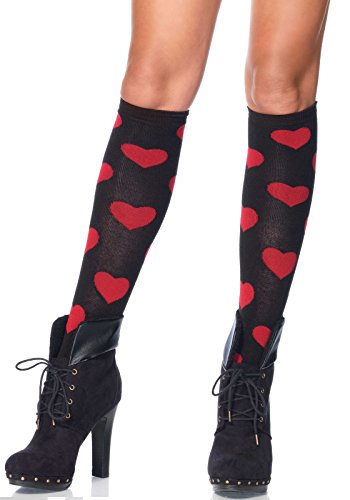Leg Avenue Women's Love Sick Heart Knee High Socks, Black/Red, One Size Lovesick Heart
