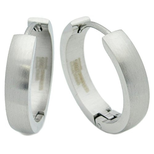 Stainless Steel Curved Face Round Hoop Earrings Brush Silver 20mm