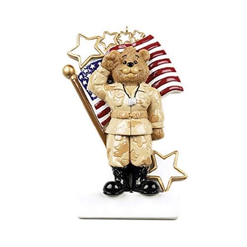 Personalized Army Bear Christmas Tree Ornament 2019 - Armed Forces Soldier United States America Flag Star Salute Brave Service-Man Fatigue Camo Uniform Proud Patriotic USA Year - Free Customization ()