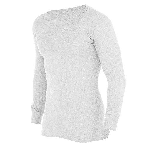 FLOSO® Herren Thermo-Unterwäsche, langärmliges Unterhemd (Viskose Premiumkollektion) (Brustumfang: 91-97 cm (Medium)) (Weiß)