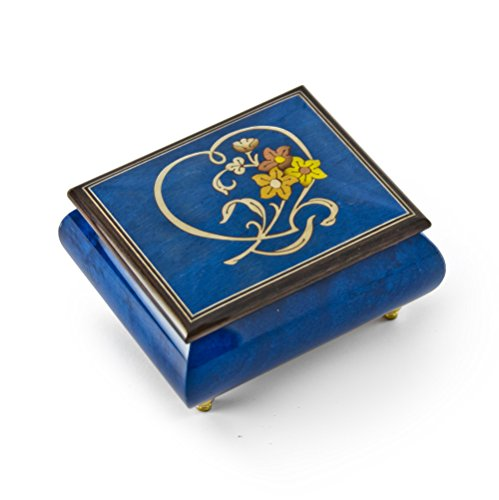 (Gorgeous Dark Blue Stain Heart and Floral Wood Inlay Music Box - Moonlight Sonata)