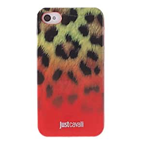 ZXM-Modelo elegante Leopard Print Red Smooth Caso Anti-shock para iPhone 4/4S