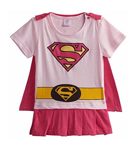 Rush Dance One Piece Super Hero Baby Supergirl Romper Onesie Suit (70 (0-6M), Light Pink & Pink (Baby Super Hero)