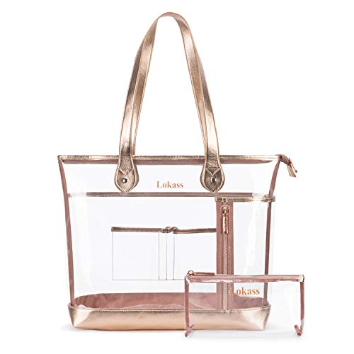 Tote Bag Large Clear Bag NFL and PGA Stadium Approved Heavy Duty Transparent Shoulder Bag See Through Beach Bag with Small Clear Makeup Bag for Women/Girls / School/Work (Rose Gold) ()