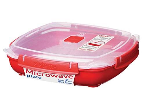 Sistema Microwave Collection Plate with Removable Steaming Rack, Large, 43.9 oz./1.3 L, Red (Covered Plate)
