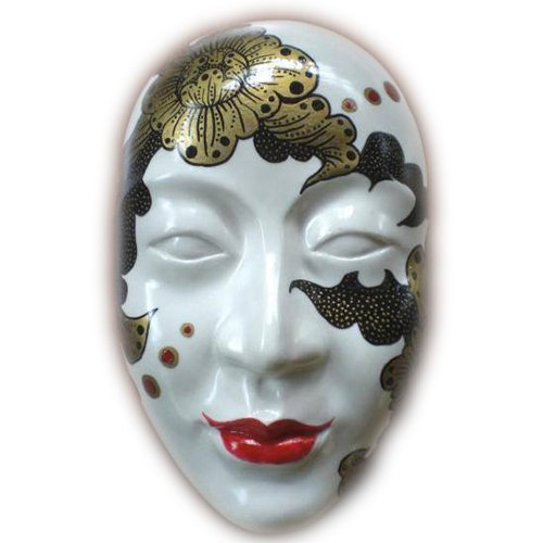 Thai Hand Decorated Porcelain Ceramic Wall Hanging Mask No.m04 Porcelain Wall Mask
