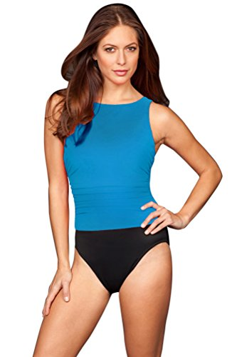 Miraclesuit Copen Blue Colorblock D-Cup Regatta Underwire High Neck Swimsuit Size 14D by Miraclesuit