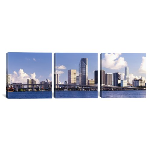 iCanvasART Buildings at The Waterfront, Miami, Florida, USA by Panoramic Images 3-Piece Canvas Art Print, 36 by 12-Inch (Canvas Art Building)