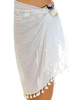 GRAPENT Women's Tassels Self Tie Beach Sarong Dress Cover Up Swimsuit Beachwear