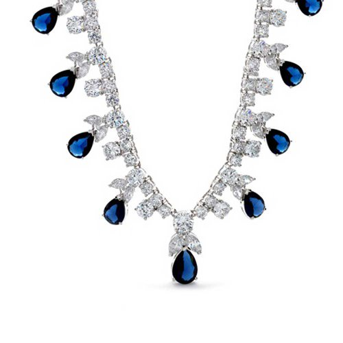Bling Jewelry Simulated Sapphire CZ Teardrop Vintage Style Necklace Rhodium Plated