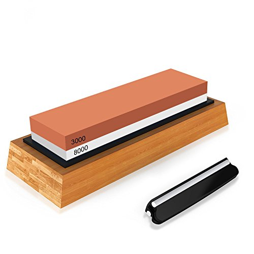 (Knife Sharpener Knife Sharpening Stone Kit Japanese Whetstone Kitchen Knife Sharpener 2 Side 3000/8000 Grit with Non- slip Rubber Bamboo Holder Base and Angle Guide (3000/8000 Grit with Base))