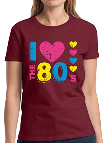 [Vizor Women's I Love The 80's T shirts Shirts Tops 80s Party 80s Costume 80s Disco Maroon 3XL] (Survivor Costumes Ideas)