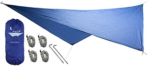 Krazy Outdoors Hammock Rain Fly - Extra Strong Rain Tarp with 70D Polyester Ripstop Quality - Strong Ropes and Pegs & Carrying Pouch - Protects Hammock from Sun, Provides Shade (Blue)