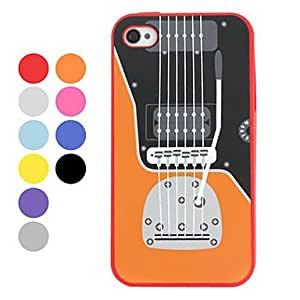 Guitar Pattern Silicon Case for iPhone 4 and 4s (Assorted Colors) , Blue