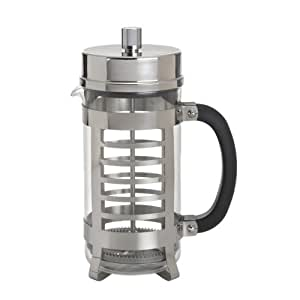 BonJour Coffee Glass and Stainless Steel French Press, 33.8-Ounce, Linear