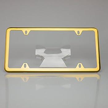 Amazon Com Gold Titanium License Plate Frame New Automotive