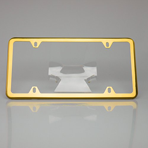 Circle Cool Gold Powder Coated Stainless Steel License Plate Slim Four Hole Frame Holder Bracket ()