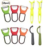 Yizeda 10 Pack Peeler Set,Non-Slip Handle With Stainless Steel Blade,Fruit And Vegetable Peeler,6 Sets D-Type Peeler + 2 Sets Straight Edge Peeler + 2 Sets Multi-Function Peeler