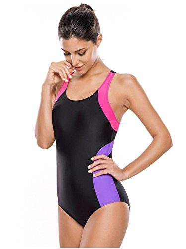 HZZ Para mujer de una pieza del traje de baño traje de natación Deportes black + purple